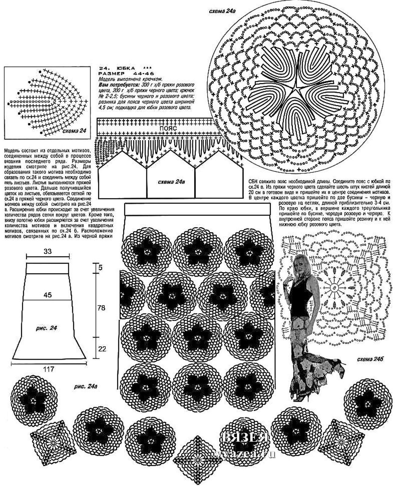 схемы юбок вязанных крючком