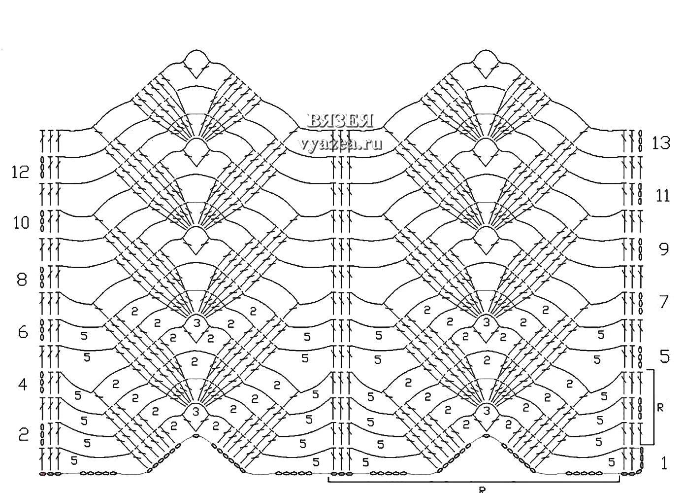 ажурные узоры для кофты описание схема