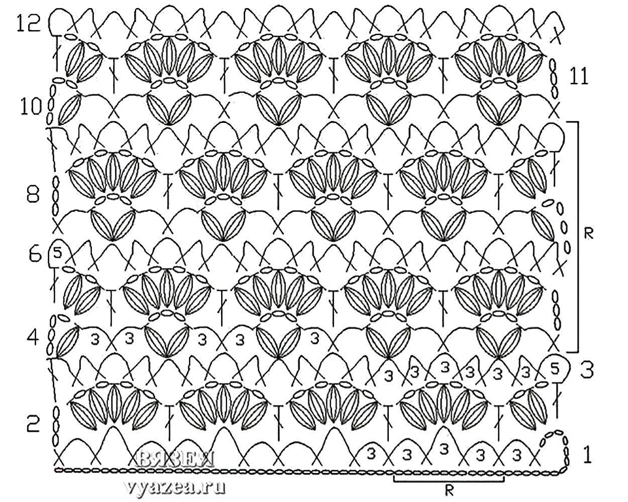 Вязание цветочные узоры крючком схемы 28