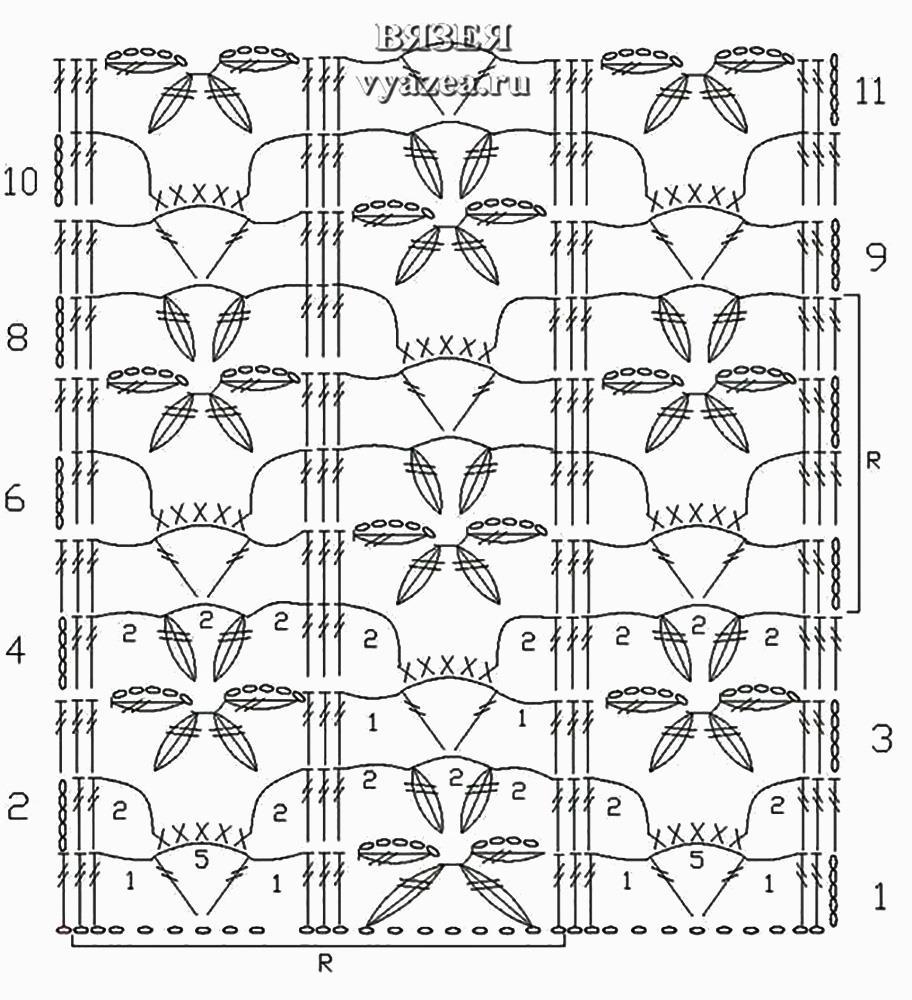 Вязание цветочные узоры крючком схемы 5