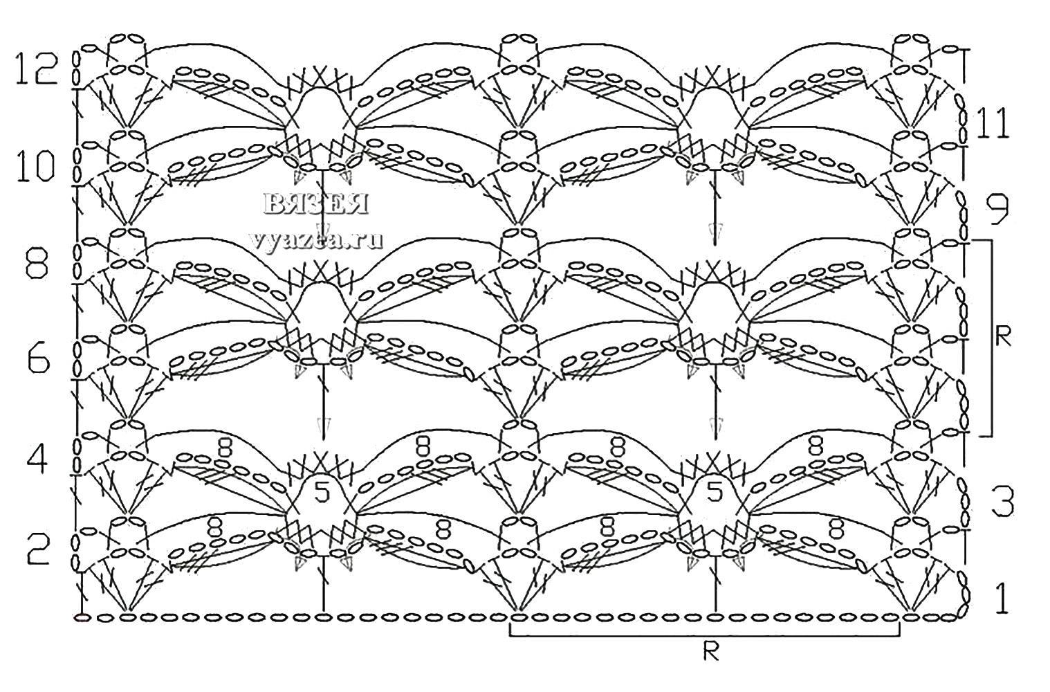 Все ажурные образцы крючком схемы