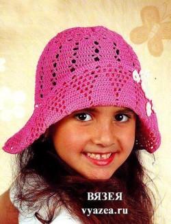 Шляпа для девочки крючком