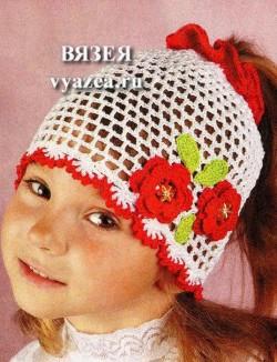 Вязаная шапка крючком для лета для девочки