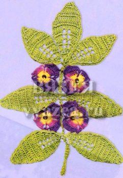 Цветы на ветке крючком