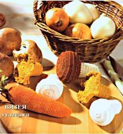 Грибы и морковка крючком
