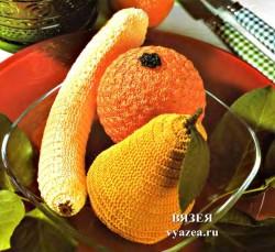 Банан, груша и апельсин крючком