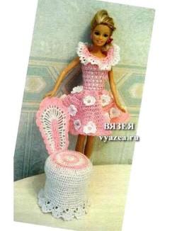 Сарафан и мебель для Барби крючком