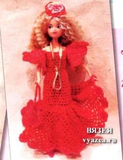 Платье для Барби крючком с описанием
