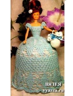 Бальное платье для Барби крючком