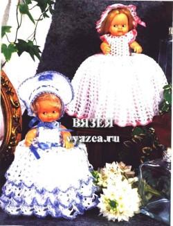Платье для куклы крючком схема