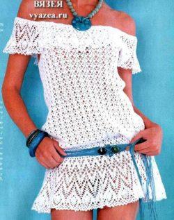 Платье туника крючком