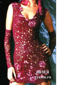 Платье крючком со съемными рукавами