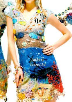 Платье крючком Морская тема