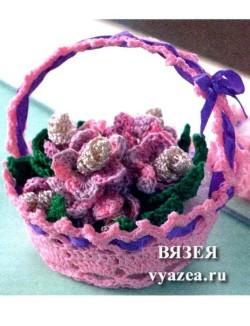 Корзинка с цветами крючком