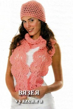 Комплект шапка и шарф крючком